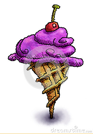 Purple ice cream cone