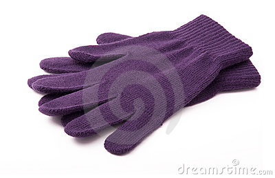 purple knitted gloves
