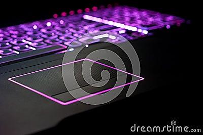 Purple Laptop Focus on Touchpad