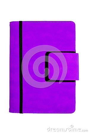 Purple leather organizer cover with ribbon, isolat