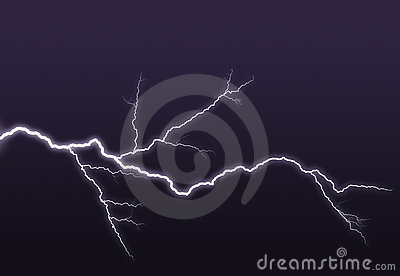 Purple lightning branched out in the sky
