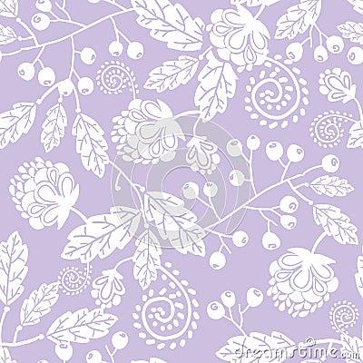 purple line art flowers seamless pattern stock photo