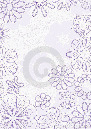 Purple Lines Flowers Grunge Background_eps