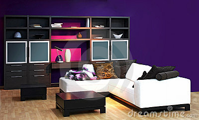 interior of modern living room with purple walls - Purple Living Room