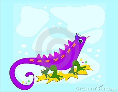 Purple Lizard with Blue Background