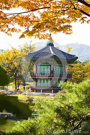 Hyangwonjeong pavilion in Gyeongbokgung Palace in Stock Photo