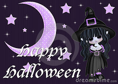 Purple Moon & Stars and Halloween Witch