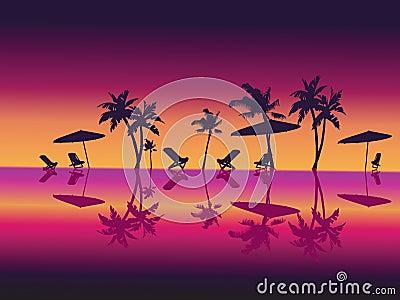 Purple Night Sea Palms Beach.