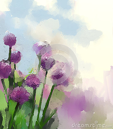 Free Purple Onion Flower.Oil Painting Stock Images - 41891464