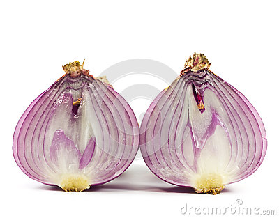 Purple onions were cut .