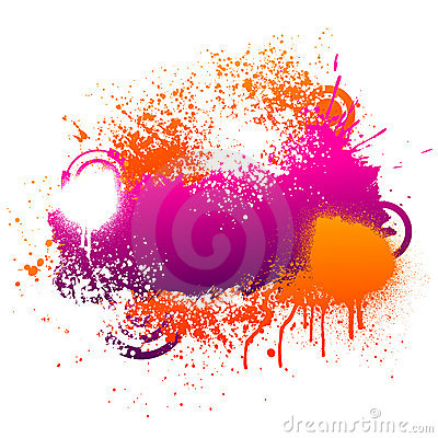 Purple and orange paint splatter