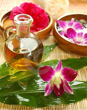 Purple orchid and massage oil
