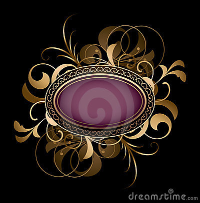 Purple oval with fancy design