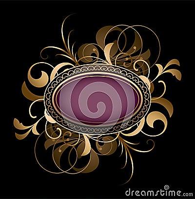 Purple oval with fancy design
