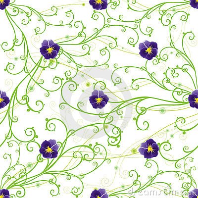 Free Purple Pansies And Green Swirls Royalty Free Stock Images - 20329879