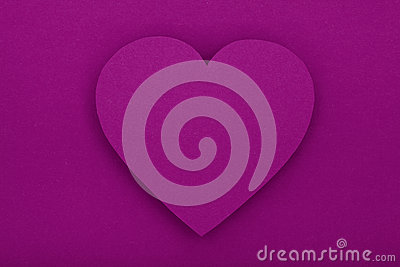 Purple paper heart with shadow