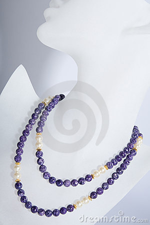 Purple and pearl beaded necklace