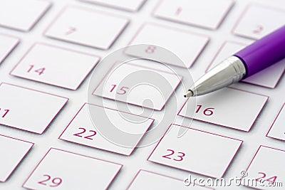 Purple Pen on calendar 2