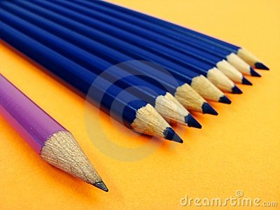 Purple pencil and blue pencils