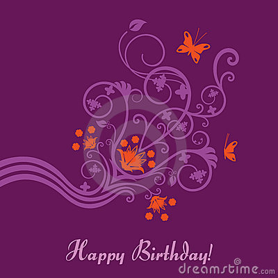 Purple and pink floral birthday card
