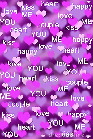 Picture Love Heart on Purple And Pink Hearts Background With Love Words Stock Photos   Image