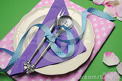 Purple & pink hearts dinner table place setting.