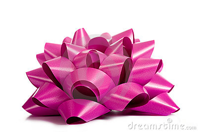 Purple or Pink Ribbon on white
