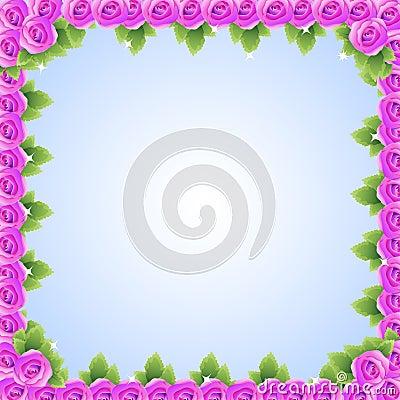Purple pink roses frame