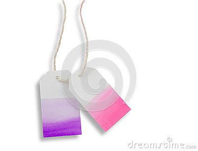 Purple pink watercolor label or price tag paper isolated with p Stock Photo