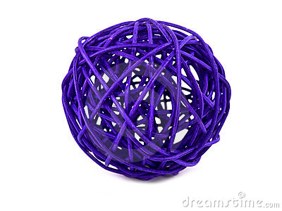 Purple rattan ball on white