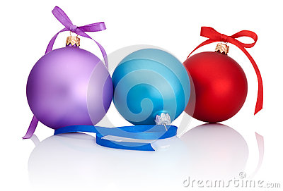 Purple, red and blue Christmas Ball with ribbon bow
