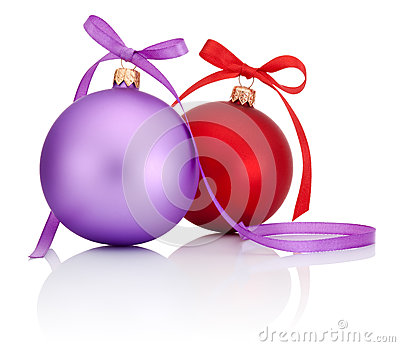 Purple and Red Christmas Ball with ribbon bow  on white