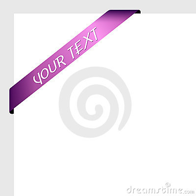 Purple ribbon in corner with text.