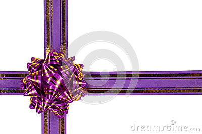 Purple ribbon and a gift bow
