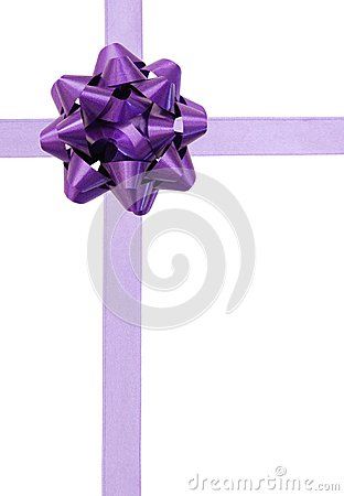 Purple ribbon over white paper
