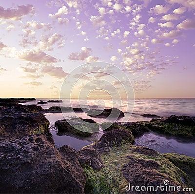 Purple rocky lagoon