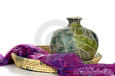 Purple Scarf & Pottery