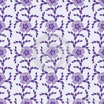Purple seamless ornate floral background