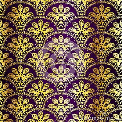 Free Purple Seamless Peacock Sari Pattern Stock Photography - 13339992