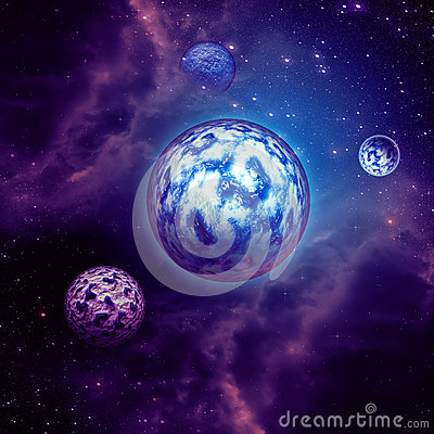 Purple space clouds and planets