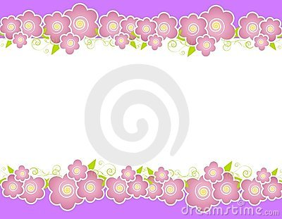 Purple Spring Flowers Border