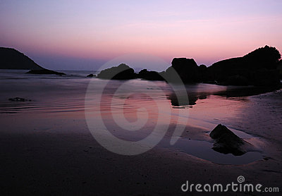 Purple sunrise at the Indian ocean coast