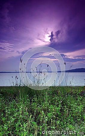 Purple sunrise, seaside