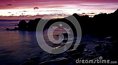 Purple Sunset with unique rocks