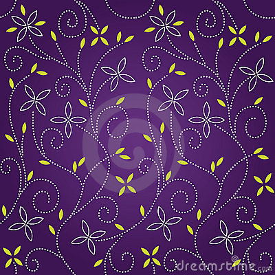 Purple swirl floral seamless pattern
