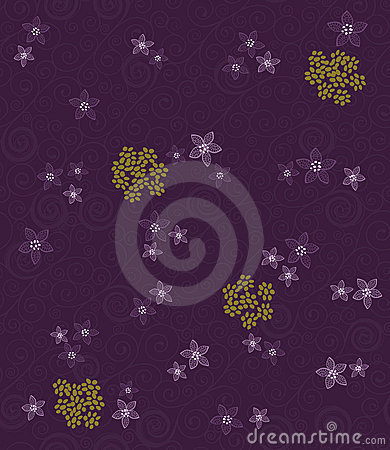 Purple swirls and flowers wallpaper