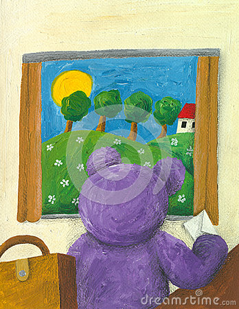 Purple teddy bear looking trough the window
