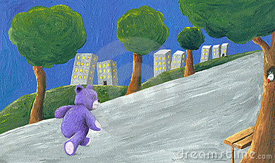 Purple teddy bear walking in the park