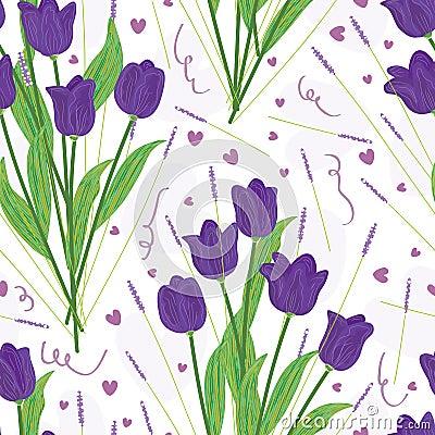 Free Purple Tulip Seamless Pattern_eps Royalty Free Stock Photography - 29967427