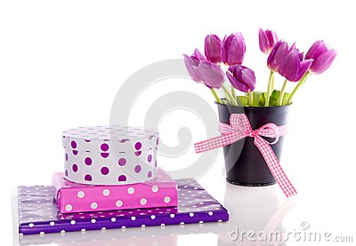 Purple tulips and gifts